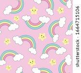 pastel rainbow seamless pattern ... | Shutterstock .eps vector #1664715106