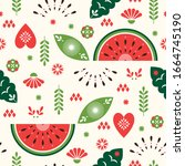 seamless pattern   stylized... | Shutterstock .eps vector #1664745190