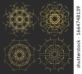 ornament gold card with mandala.... | Shutterstock . vector #1664748139