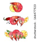 watercolor seafood set ... | Shutterstock . vector #166477523