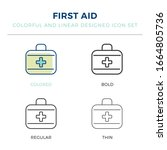first aid icon in different...