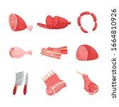 fresh organic meat cartoon...   Shutterstock .eps vector #1664810926