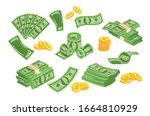 Green Banknote And Gold Coins...
