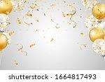falling bright shiny golden... | Shutterstock .eps vector #1664817493