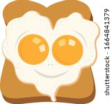 heart shaped fried egg on baked ... | Shutterstock .eps vector #1664841379