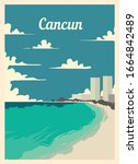 Retro Poster Cancun City...