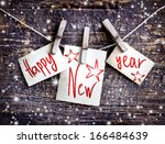 happy new year card with  snow... | Shutterstock . vector #166484639
