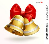 Golden Bells With Red Ribbon O...