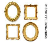 set of four antique golden... | Shutterstock . vector #166489310