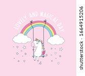 sweet unicorn and slogan... | Shutterstock .eps vector #1664915206