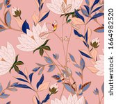 flowers of cream beige lilies... | Shutterstock .eps vector #1664982520
