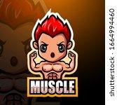 muscle boy mascot esport logo...   Shutterstock .eps vector #1664994460