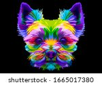 Colorful Yorkshire Terrier Dog...