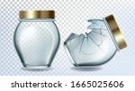 jar glass and broken bottle... | Shutterstock .eps vector #1665025606
