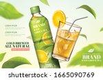bottled green tea ads with... | Shutterstock .eps vector #1665090769