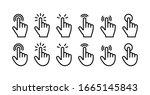index finger click icons set.... | Shutterstock .eps vector #1665145843