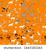 Textured Horse Seamless Pattern ...