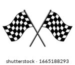 Checkered Flags. Black And...