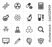 trendy science icons on white.... | Shutterstock .eps vector #166520909