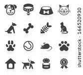 Stock vector trendy pet icons isolated on white vector elements 166520930