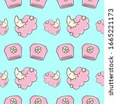 Seamless children's background. Cloud, month, diaper. Background for a girl. Print for paper, fabric, clothing, postcards, tablecloths, pack a gift. Poster for the children's room.