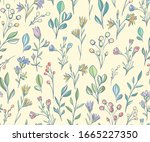 seamless pattern with meadow... | Shutterstock .eps vector #1665227350