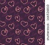 seamless arrows hearts violet... | Shutterstock .eps vector #166526810