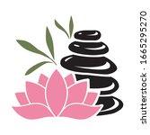 lotus flower and bamboo leaves...   Shutterstock .eps vector #1665295270