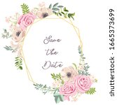 vector drawing rose flowers and ...   Shutterstock .eps vector #1665373699