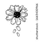 black and white flower with...   Shutterstock .eps vector #1665430966