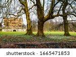 Autumn Mansion Park Trees Scen...