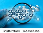 medicine doctor hand with... | Shutterstock . vector #1665585556