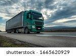 Green Semi Trailer Truck...