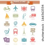 travel icons colorful version... | Shutterstock .eps vector #166563554
