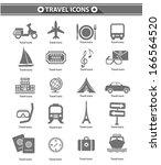 travel icons gray version vector | Shutterstock .eps vector #166564520
