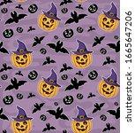 seamless pattern with pumpkins... | Shutterstock .eps vector #1665647206
