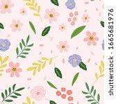 cute gardener and spring...   Shutterstock .eps vector #1665681976