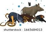 vector wild animal with... | Shutterstock .eps vector #1665684013