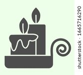 Night Candle Solid Icon. Two...