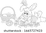 happy little bunny painting... | Shutterstock .eps vector #1665727423