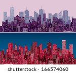 city skylines in  purple and...   Shutterstock .eps vector #166574060