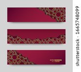 set of 3d banner with islamic... | Shutterstock .eps vector #1665748099