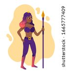 sexy amazon girl with spear in... | Shutterstock .eps vector #1665777409