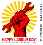 happy labour day vector label... | Shutterstock .eps vector #1665792163
