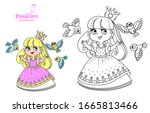 cute princess in a pink dress... | Shutterstock .eps vector #1665813466
