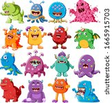 collection of angry monster... | Shutterstock .eps vector #1665915703