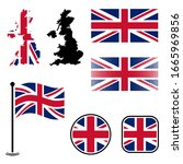united kingdom flags and map... | Shutterstock .eps vector #1665969856