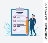 check list to do list with... | Shutterstock .eps vector #1665997570