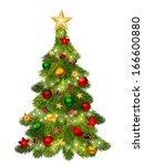 christmas tree. vector... | Shutterstock .eps vector #166600880