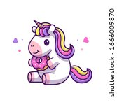 cute unicorn eat donut vector... | Shutterstock .eps vector #1666009870